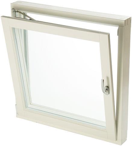 Окно открывается в положение вентиляции примерно на 100 ммвверху. Застоявшийся в помещении воздух поднимается и выходитчерез верхнюю часть окна, а свежий воздух поступает через боковыечасти окна. Поток воздуха будет обладать умеренной интенсивностьюпри любых погодных условиях, поэтому в ветреный день нет необходимости собирать занавески, а также убирать цветы и другие предметы с подоконника.